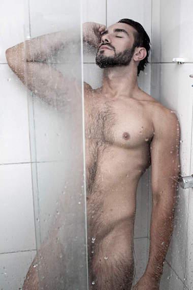 wet naked male model