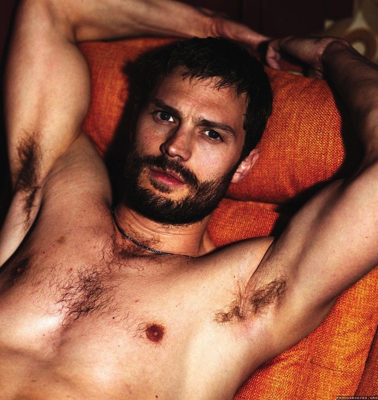 Bringing up the rear, quite literally, is Jamie Dornan. Mr. Fifty Shades  closes out this collection of hotties with his buxom behind exiting the  shower.
